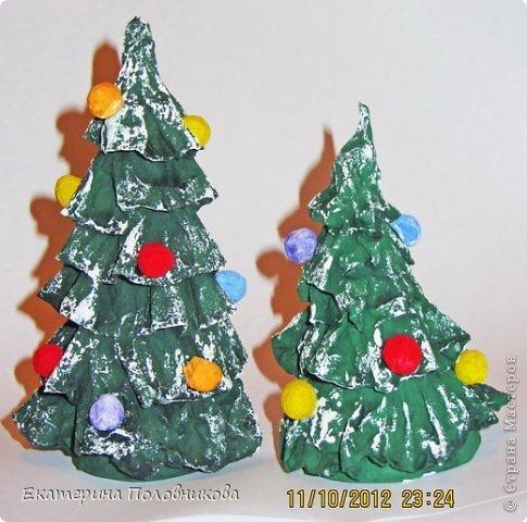 Мастер-класс Бумагопластика: Новогодние елочки из бумаги МК Бумага, Клей, Краска Новый год, Рождество. Фото 1