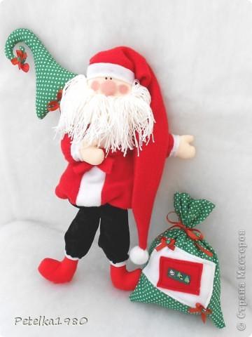Куклы Шитьё: Санта)) Бусинки, Ленты, Нитки, Ткань Новый год. Фото 5
